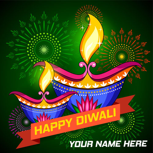 Beautiful Happy Diwali Diya HD Images With Name