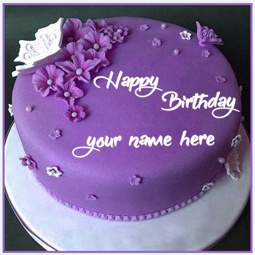 Write Your Name On Purple Happy Birthday Cake With Name