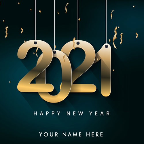 Happy New Year 2021 Card With Name and Photo