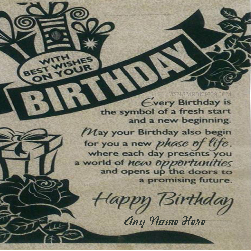 Write Name On Happy Birthday Card With Name