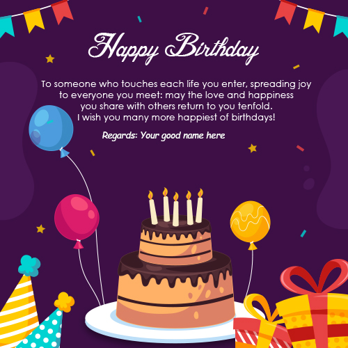 Happy Birthday Cake Wishes Card With Name Edit