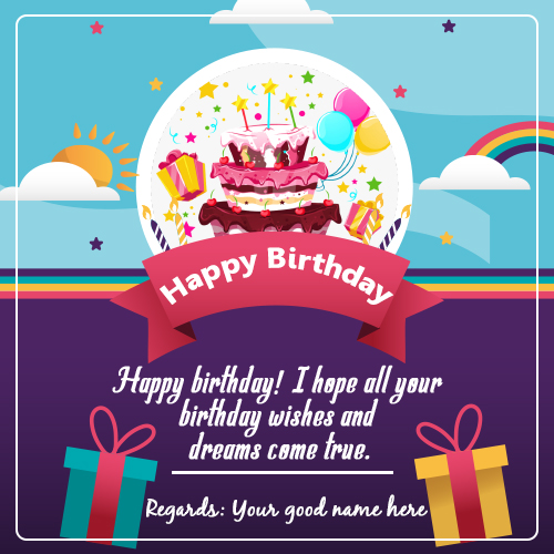 Happy Birthday Cake and Wishes Card With Your Name