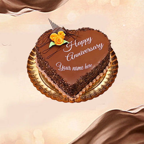 Heart Shaped Anniversary Chocolate Cake Image With Name