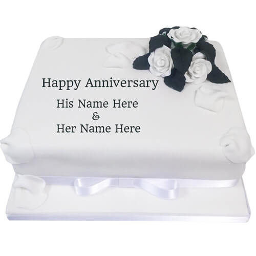 Write Your Name on Happy Anniversary Flower Cake Pics