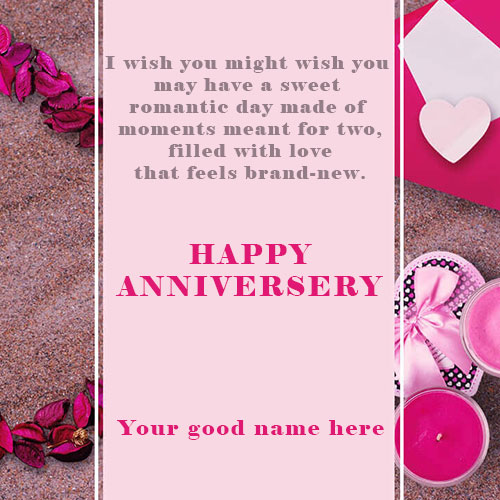 Write Your Name On Happy Anniversary Wishes Card