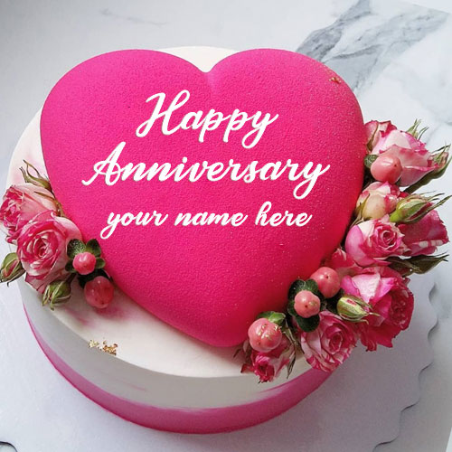 Pink Heart With Flowers Marriage Anniversary Cake Image Name
