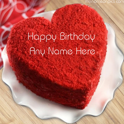 Heart Shape Birthday Cake For Girlfriend With Name