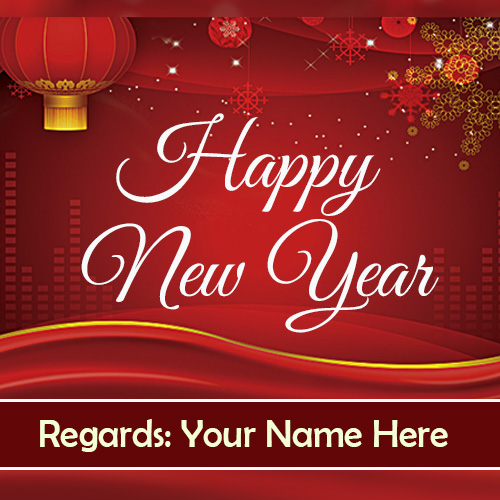 Write Name On Happy New Year Greetings Card 2019