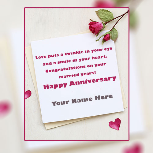 Write Name On Anniversary Cards