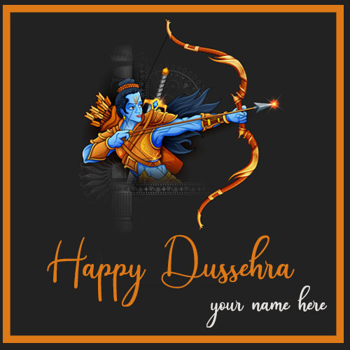 Happy Dussehra Picture With Name Greetings Card